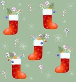 Seamless background. Red Santa's boot with gifts. — ストックベクタ