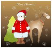 Noel baba ve geyik ve kürk-ağaç tebrik kartı — Stok Vektör