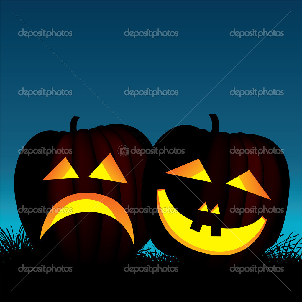 Vector illustration of two halloween pumpkins — Stok Vektör #6957388