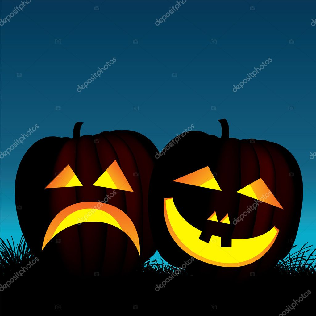 Vector illustration of two halloween pumpkins — Vettoriali Stock  #6957388