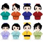Vector set of geisha girls — Stock Vector #7147603