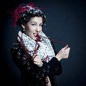 Fairy portrait of beautiful young woman santa helper — Stock Photo