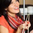 Woman and chopsticks — Stock Photo
