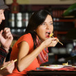 Eating in asian Restaurant — Stock Photo