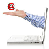 E-mail on a palm — Stock Photo