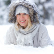 Pretty young woman in snow — Stock Photo #7938941