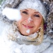 Portrait of beautiful winter blonde — Stock Photo