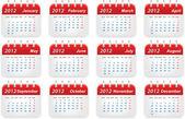 Calendario año 2012 — Vector de stock