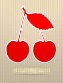 Cherry postcard vector illustration — Stock Vector