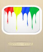 Paint drips postcard vector illustration — Stock Vector