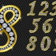 Number set, from 1 to 9, golden with diamonds - Stock Vector