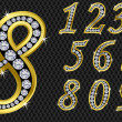 Royalty-Free Stock Vector Image: Number set, from 1 to 9, golden with diamonds