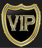 Bouclier de protection de Vip, or avec diamants — Vecteur