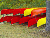 Kayaks rack on shore — 图库照片