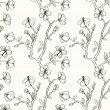 Black and white floral seamless pattern - Stok Vektör