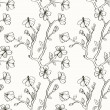Black and white floral seamless pattern - Stock vektor