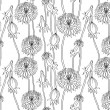 Royalty-Free Stock Vector Image: Floral seamless pattern with hand drawn dandelions