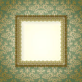 Luxury frame on vintage wallpaper — Stock Vector