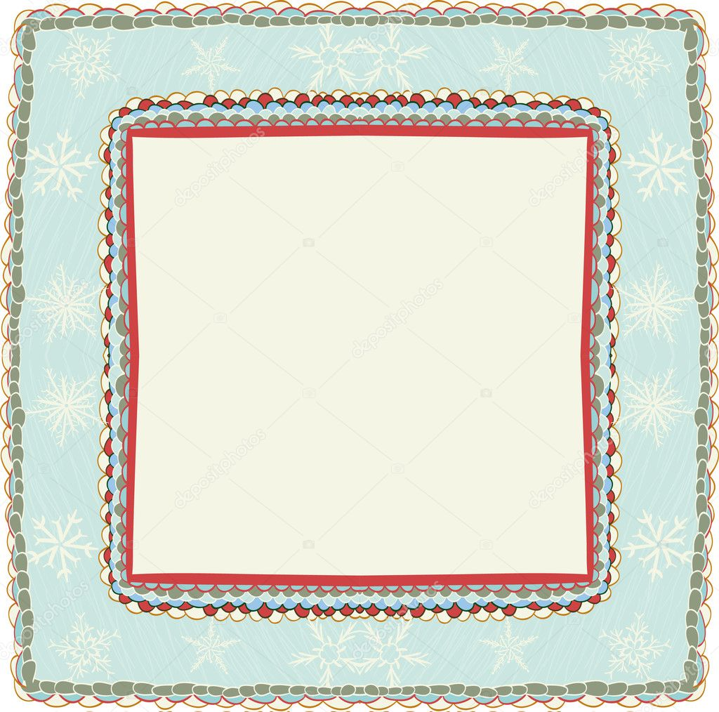 Hand drawn christmas frame with snowflakes  Stock Vector #6929513