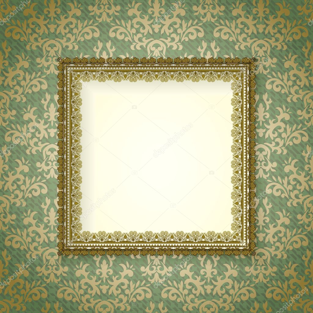 Luxury frame on vintage wallpaper stock vector - Papel paredes vintage ...