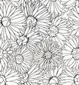 Noir et blanc motif floral de transparent avec main dessiné des fleurs — Vecteur
