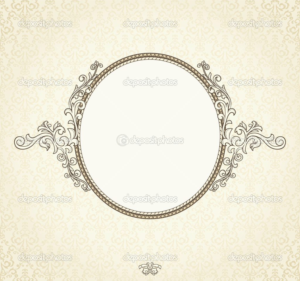 Detailed retro frame  on repeating damask wallpaper — Stock Vector #7381614
