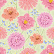 Floral bacground with pink hand drawn flowers — Stock vektor