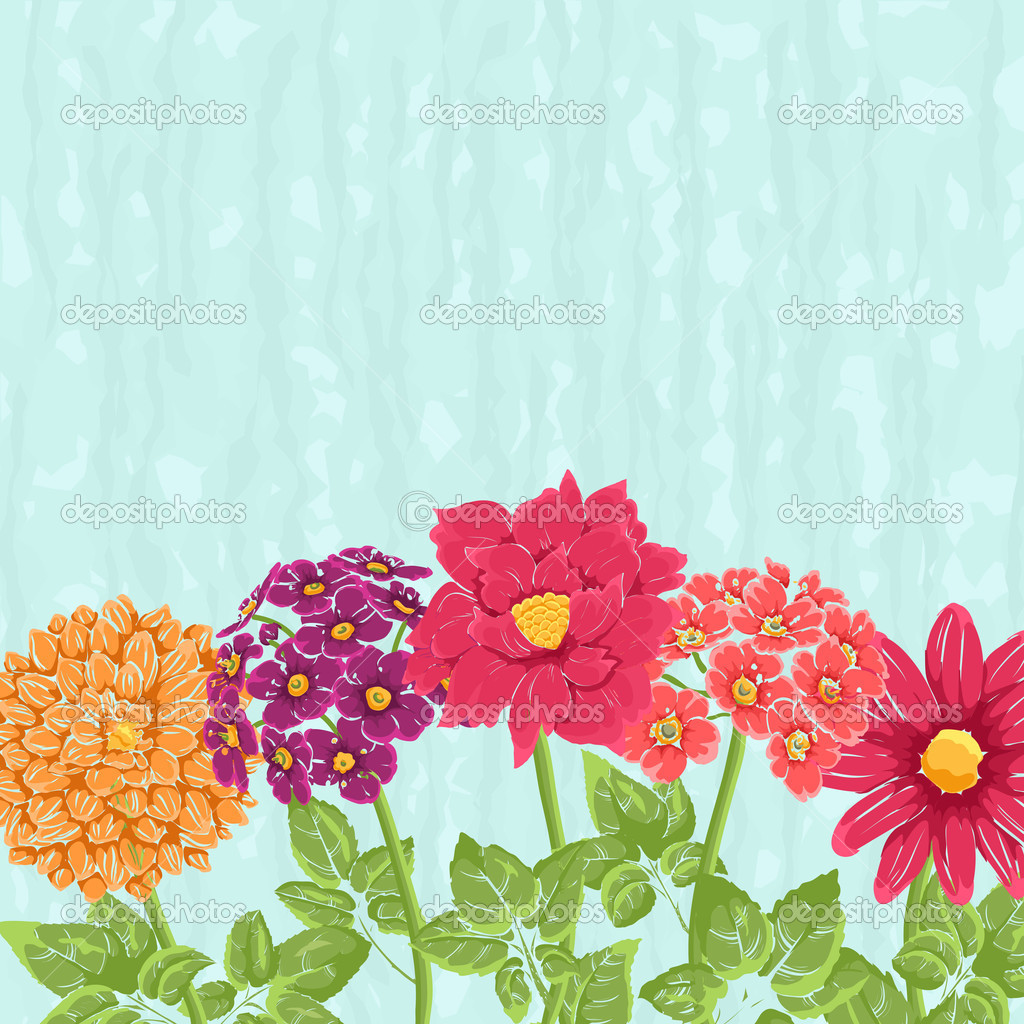 Stylish background with hand drawn flowers and place for text. Could be used as wedding invitation or valentine — Stock Vector #7612258