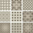 Set of 9 seamless patterns. - Stockvectorbeeld