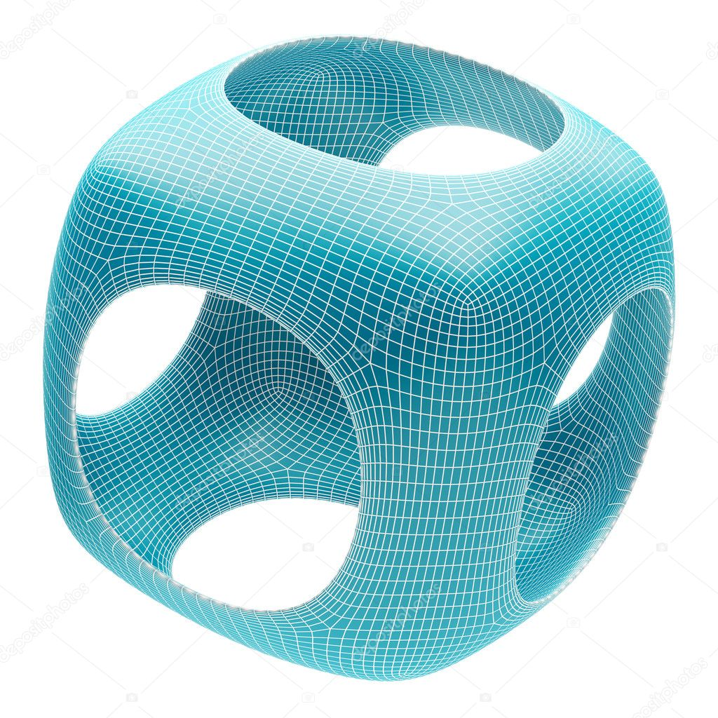 3d Illustration of Blue Abstract Shape Isolated on White — Stock Photo #6750957