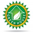 Stock Vector: Green house icon with leaf