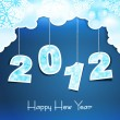 New Year holiday background with the numbers 2012 on the blue sk - Stock Vector