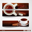 Vector set of banners with coffee - Stock Vector