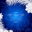 Vector de stock : Blue Christmas holiday background with snowflakes and silver fir
