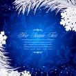 kar taneleri ve gümüş fir Noel tatil arka plan mavi — Stok Vektör