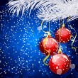 Blue Christmas festive background with red balls and silver fir — Stok Vektör