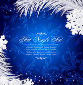 Blue Christmas holiday background with snowflakes and silver fir — Vector de stock