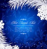 Fondo azul de vacaciones de navidad con copos de nieve y pectíneo — Vector de stock
