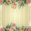 New retro background with tree branches and eating Christmas toy — Vector de stock