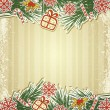 New retro background with tree branches and eating Christmas toy — 图库矢量图片