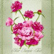Vector holiday greetings with Peonies — 图库矢量图片