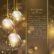 Holiday gold background with golden glass balls - Stock Vector