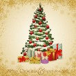 Vector festive invitation to the Christmas tree and lots of gift — Imagens vectoriais em stock