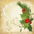 Vector vintage christmas background with sprig of European holly — 图库矢量图片