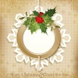 Vector vintage retro christmas background with sprig of European — ストックベクタ
