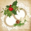 Vector vintage retro christmas background with sprig of European - Stock Vector