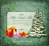 Vector vintage festive invitation to the Christmas tree and lots — Stock Vector