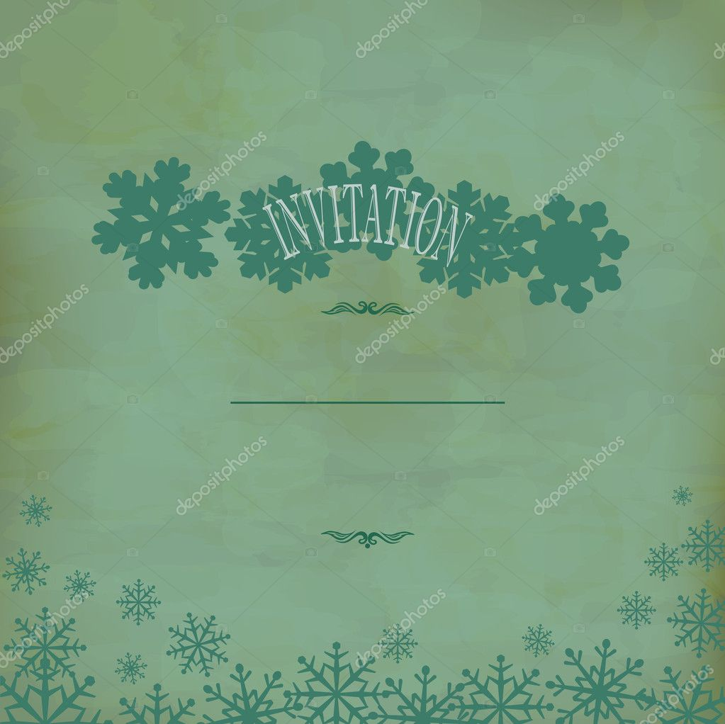 Vector vintage festive background with snowflakes (old paper) — Stock Vector #7608935