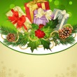 Holiday background, tree, pine cones, holly and the frame — ベクター素材ストック