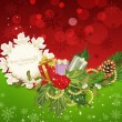Vector holiday background, tree, pine cones,gifts, holly and the — Image vectorielle